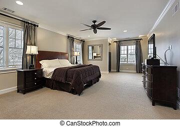 sombre, meubles, bois, maître, chambre à coucher