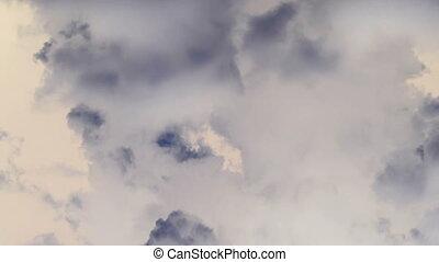sombre, nuages blancs, orage