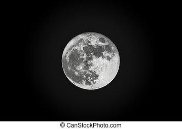 sombre, nuit, entiers, ciel, lune