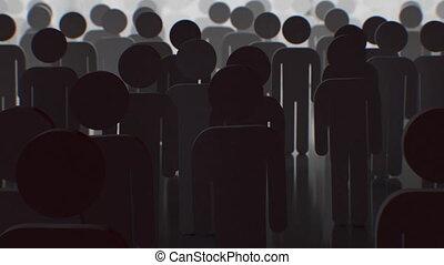sombre, ombre, ultra, humains, marche, 3d, lumière, gens, 4k, foule, silhouette, light., appareil photo, animation, aller, concept., 3840x2160, hd