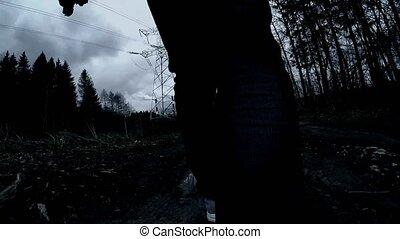 sombre, parc, nuit
