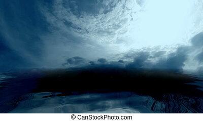 sombre, sur, nuages, océan orageux