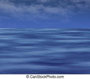 sombre, surface eau