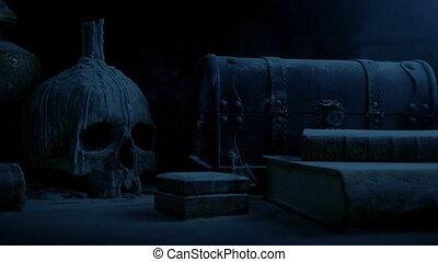 sombre, table, château, vieux, crâne