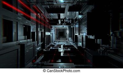 sombre, tunnel, vj, futuriste