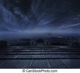 sombre, urbain, sur, nuages, fond