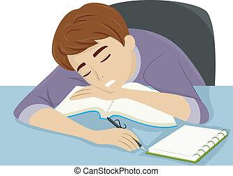sommeil, type, somnoler loin