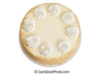 sommet, émietter, petit gâteau, gâteau, glaçage, vue