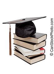 sommet, casquette, remise de diplomes, livres, blanc, pile