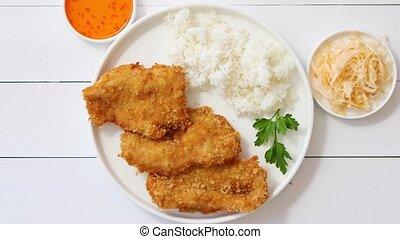 sommet, chapelure, rice., servi, fond, frit, vue, blanc, poulet, bois, croustillant