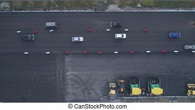sommet, construction, trafic, route, vue