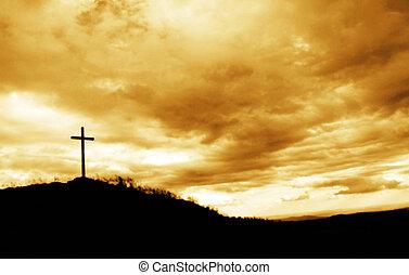 sommet, croix, colline