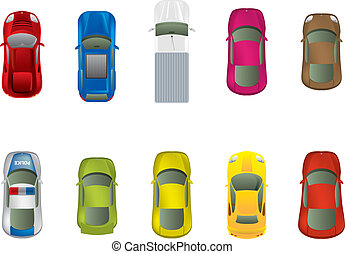 sommet, différent, automobiles, vue