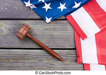 sommet, drapeau, juge, américain, marteau, vue.
