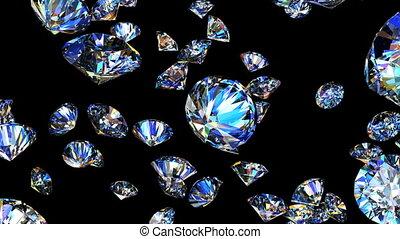 sommet, faire boucle, animation, lentement, diamants, tomber, 3d