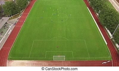 sommet, football, field., vue