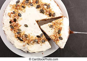sommet, gâteau, carotte, vue, slice-