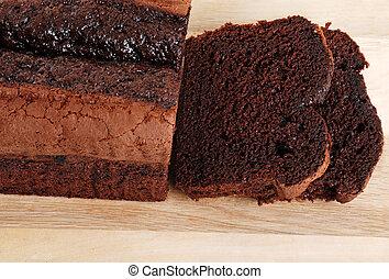 sommet gâteau, vue, pain, chocolat