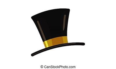 sommet, icône, chapeau, animation