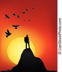 sommet montagne, coucher soleil
