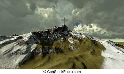 sommet montagne, croix, neigeux