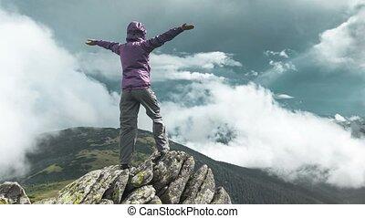 sommet montagne, femme