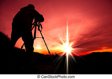 sommet montagne, silhouette, photographe
