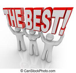 sommet, vainqueurs, célébrer, mots, équipe, levage, mieux
