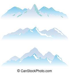 sommets montagne, neigeux