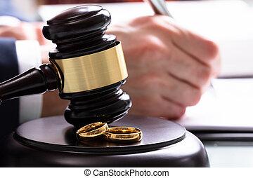 son, anneaux, salle audience, bloc, mariage