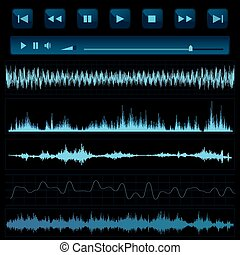 son, arrière-plan., musique, waves.