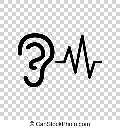 son, arrière-plan., signe., audition, noir, oreille, icône, transparent