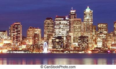 son, bâtiments, bureau, puget, baie, en ville, horizon, nuit, elliott, seattle