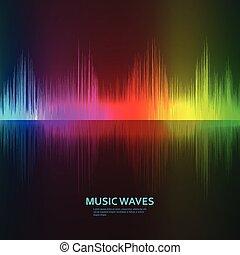 son, compensateur, reflet, arc-en-ciel, arrière-plan., musique, vagues
