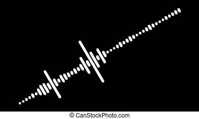 son, compensateur, signal, motion., vague, arrière-plan noir, audio
