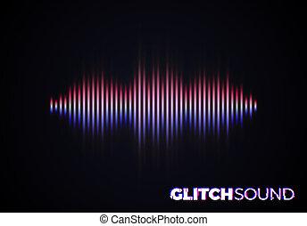 son, crêtes, couleur, effet, vague, volume, glitch, musique, audio, ou