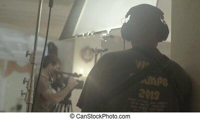 son, filmmaking., pendant, shooting., ensemble, film, enregistrement, filming.