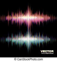 son, forme onde, stéréo, brillant