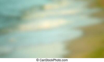 son, plage, brouillé, arrière-plan., côté mer, vagues