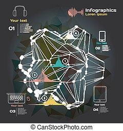 son, sombre, vagues, fond, infographics