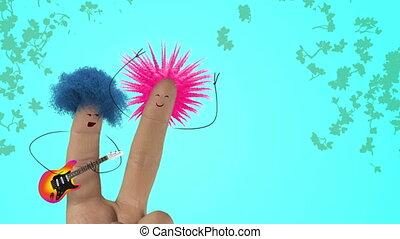 song., poilu, amour, joke., valentines, punk, color., cheveux, doigt, chanter, jour, homme