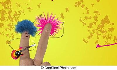 song., poilu, amour, punk, valentines, joke., cheveux, doigt, chanter, jour, homme