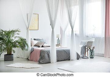sophistiqué, plante, intérieur, chambre à coucher