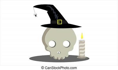 sorcière, crâne, chapeau, bougies