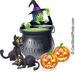 sorcière halloween, dessin animé, scène