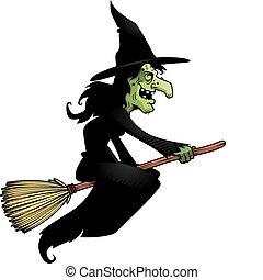 sorcière, manche balai