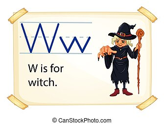 sorcière, w, lettre