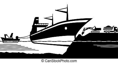 sortie, bateau, rivage, échoué