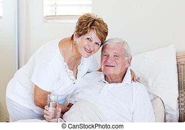 soucier, épouse, malade, personne agee, prendre, mari, soin