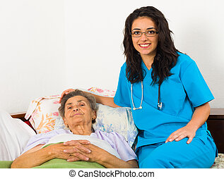 soucier, aîné, infirmière, malades
